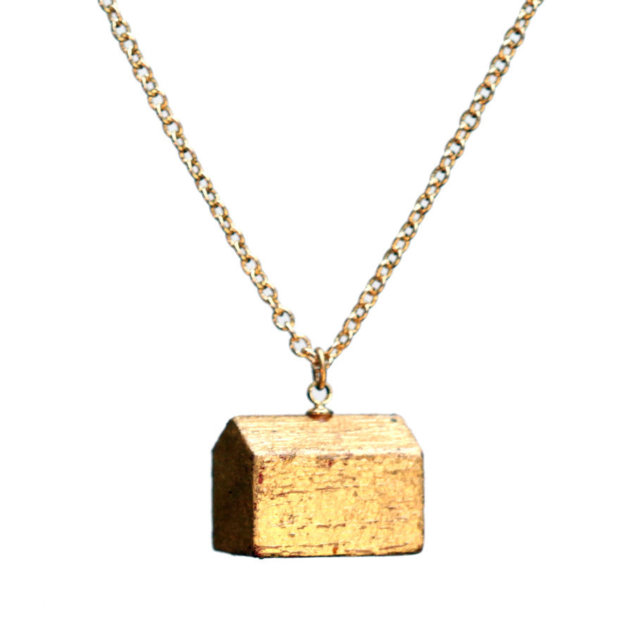 Gold leaf hotel short pendant - Amy Jewelry