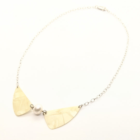 Pearl guitar pick beetle-wing necklace