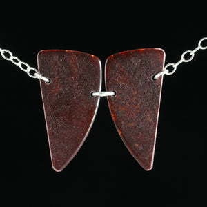 Guitar pick butterfly necklace with sterling silver