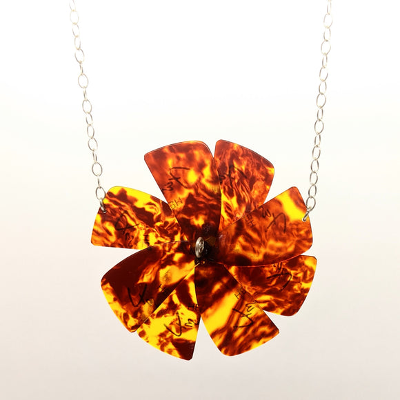 Guitar pick flower necklace