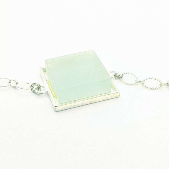Aqua glass tile silver-plated bracelet