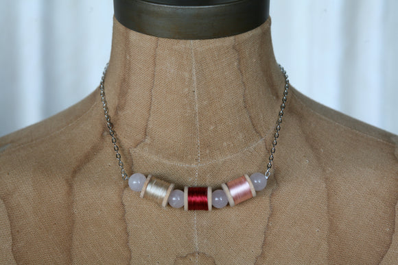Pink and red vintage wooden spool necklace
