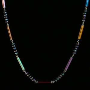 Knitting needle link necklace with pearls
