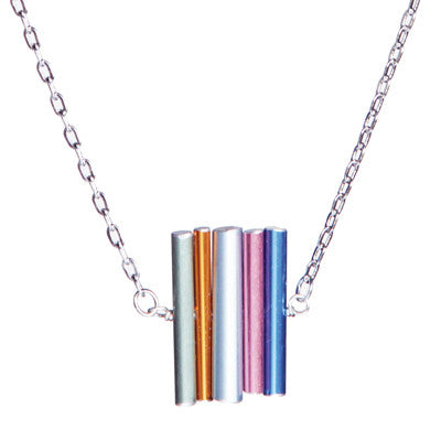 Small stacked knitting needle necklace on steel chain