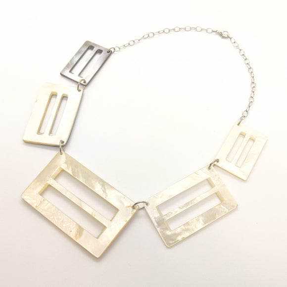 Antique mother-of-pearl belt buckle link necklace