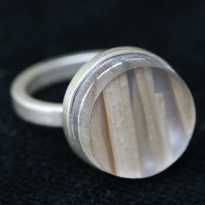 Recycled plastic wood bezel ring - Amy Jewelry