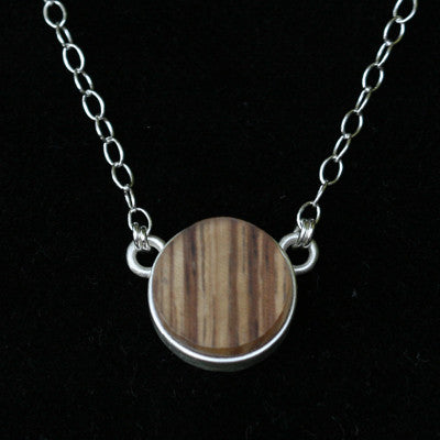 Recycled plastic wood bezel necklace