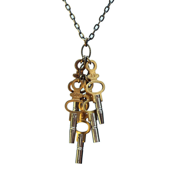 Five-key pendant on antiqued brass chain - Amy Jewelry