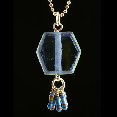 Blue recycled glass hexagon and resistor pendant