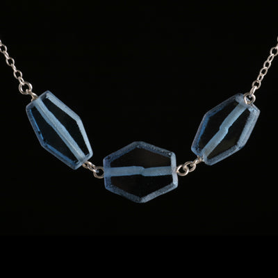 Triple cobalt blue recycled glass hexagon necklace