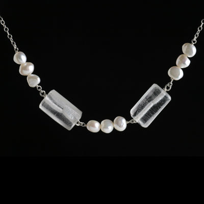 White recycled glass and pearl necklace