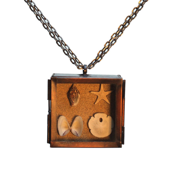 Beach shadow box pendant - Amy Jewelry