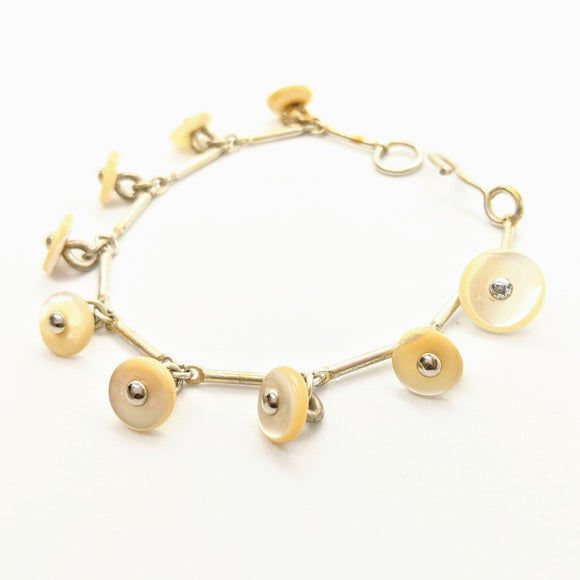 White mother of pearl shoe button bracelet