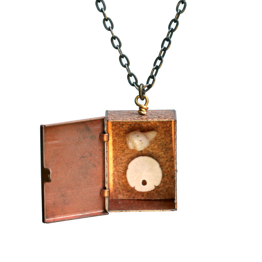 Small beach shadow box pendant - Amy Jewelry  - 1