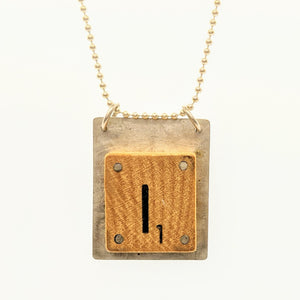 "Sterling silver Scrabble ""I"" pendant on silver chain"