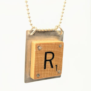 "Sterling silver Scrabble ""R"" pendant on silver chain"