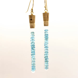 Aquamarine test tube earrings