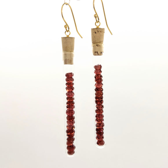 Ruby test tube earrings