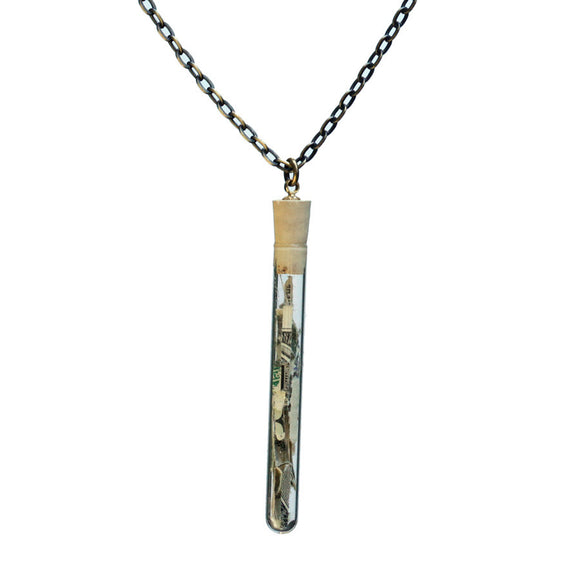 Shredded money test tube pendant on antiqued brass chain - Amy Jewelry  - 1