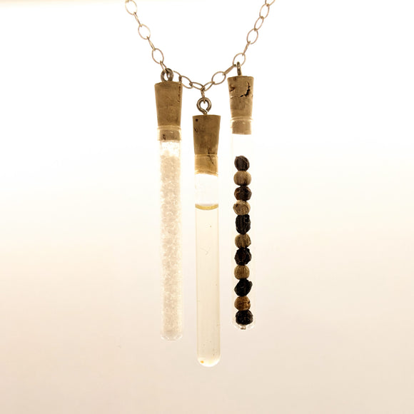 Triple salt, pepper and olive oil test tube pendant on sterling silver chain