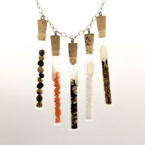 Culinary test tube necklace with sterling silver chain
