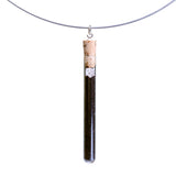 Coffee test tube pendant on steel cable - Amy Jewelry  - 1