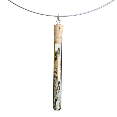 Shredded money test tube pendant on steel cable