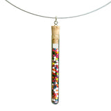 Shredded money test tube pendant on steel cable - Amy Jewelry  - 8