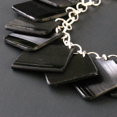Salvaged vinyl record charm bracelet - Amy Jewelry
