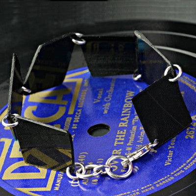 Salvaged vinyl record link bracelet