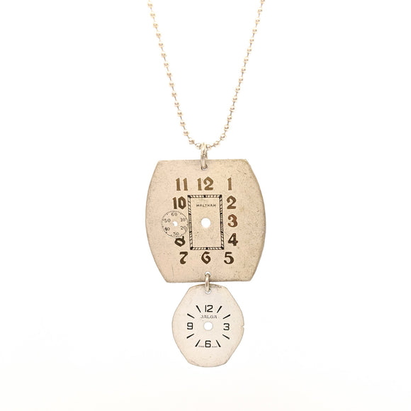 Double vintage watch face pendant on silver chain