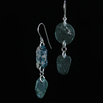 Double ancient Roman glass earrings
