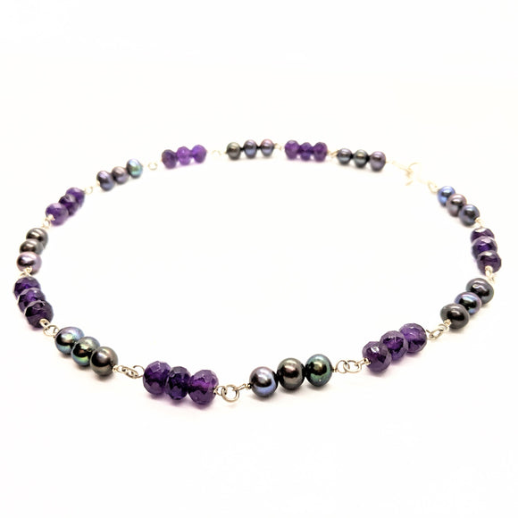 Faceted amethyst and pearl necklace
