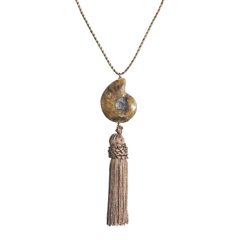 Ammonite and vintage tassel necklace