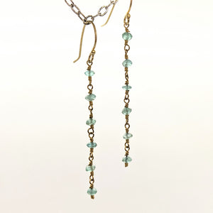 Aqua faceted chain earrings