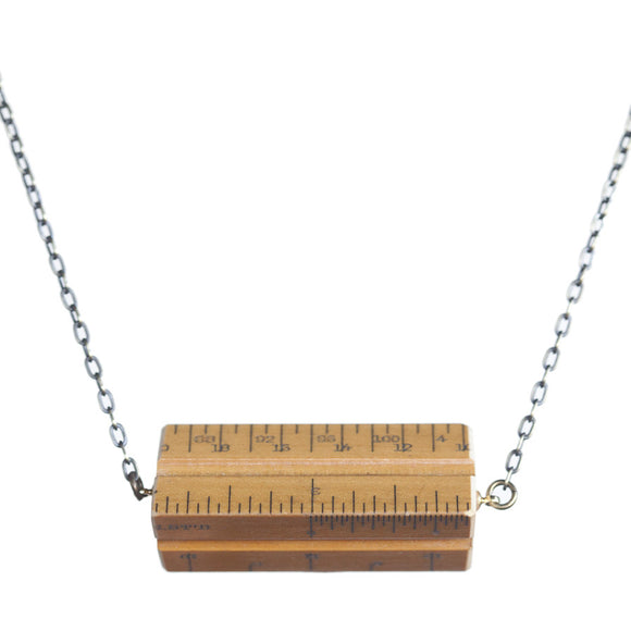 Wooden architects' scale hortizontal necklace - Amy Jewelry