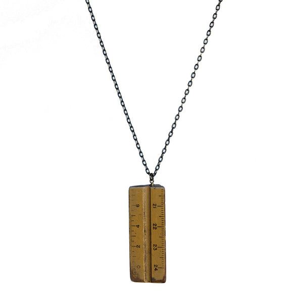 Wooden architects' scale long pendant - Amy Jewelry