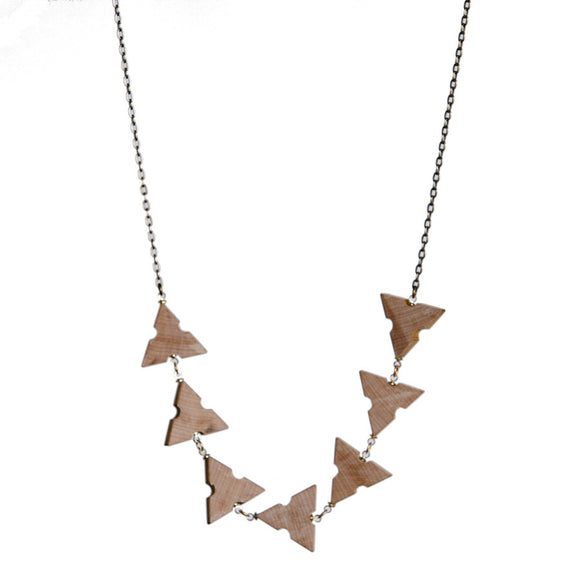 Wooden architects' scale long link necklace - Amy Jewelry