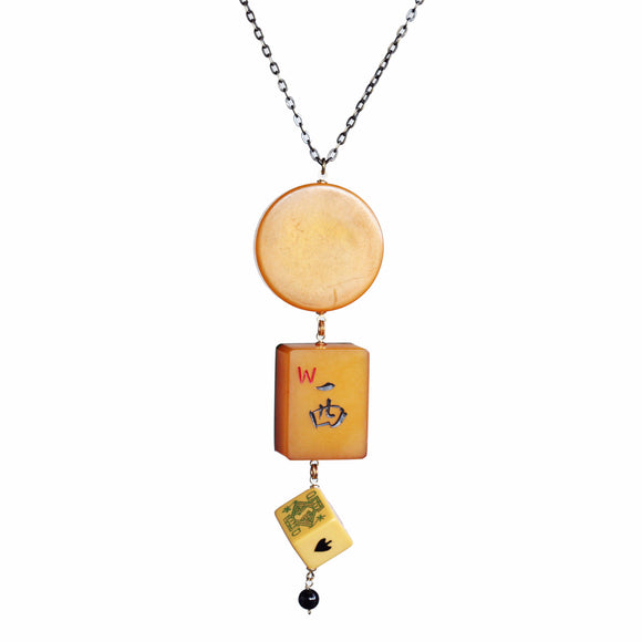 Bakelite game piece, mahjong, and poker die necklace - Amy Jewelry