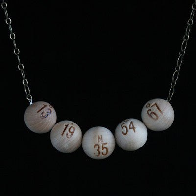 Bingo ball necklace