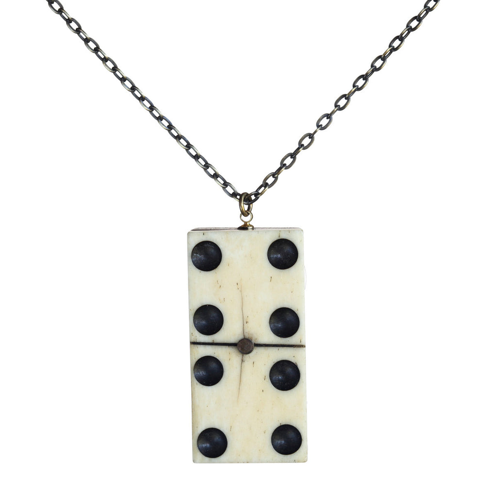 Antique wood and bone domino vertical pendant - Amy Jewelry