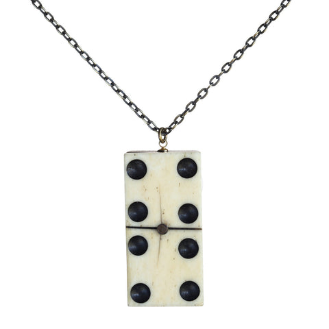 Antique wood and bone domino vertical pendant