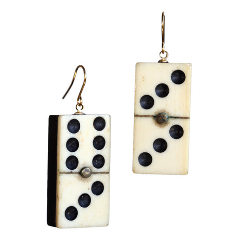 Antique wood and bone domino earrings