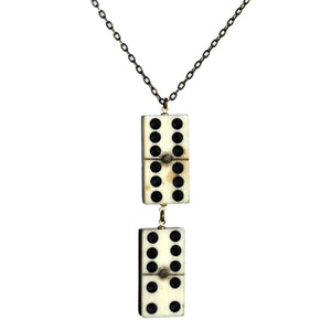 Small vintage bone domino double pendant - Amy Jewelry