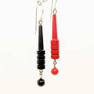 Black and red cribbage earrings