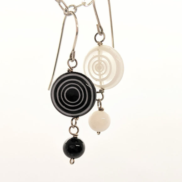 Black and white glass bead earrings