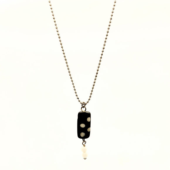 Black and white polka dot necklace