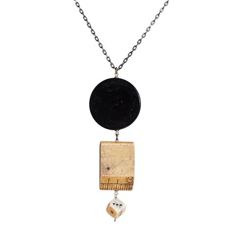 Poker chip-ruler-die pendant necklace