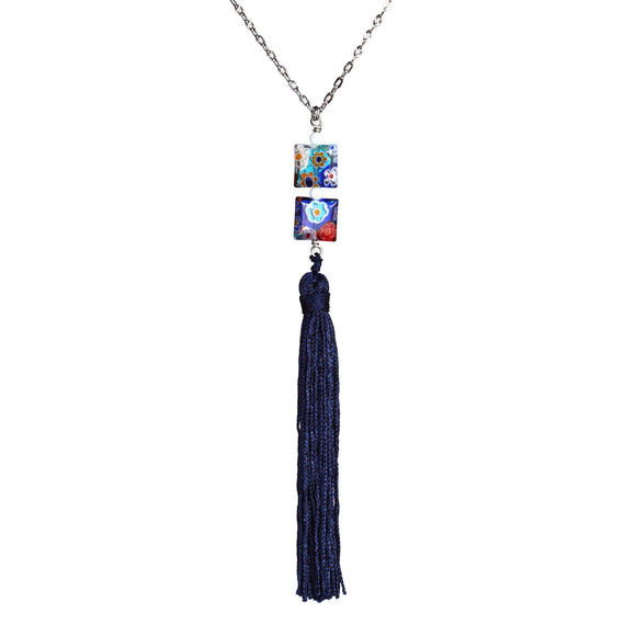 Millefiori bead and vintage tassel necklace on steel chain - Amy Jewelry