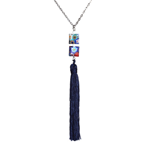 Millefiori bead and vintage tassel necklace on steel chain